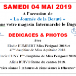 Elodie HUMBERT Miss Périgord 2019 sera l'invitée de l'Intermarché du Bugue  le Samedi 4 Mai